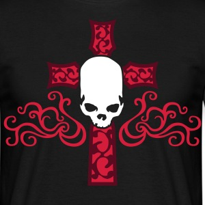 tribal_skull_cross_b_3c_black Camisetas - Camiseta hombre