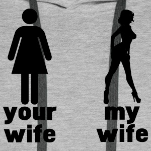 your wife vs my wife Bluzy - Bluza męska Premium z kapturem