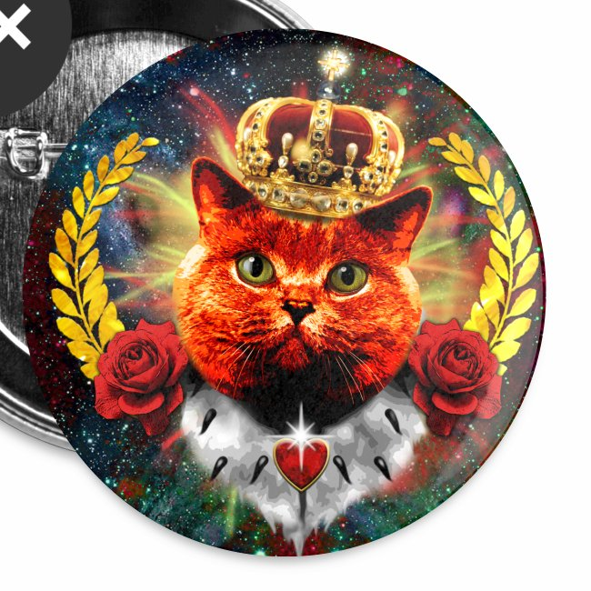 Red Roses Cat the Queen - rote Katze mit Krone Anstecker 32 mm Button