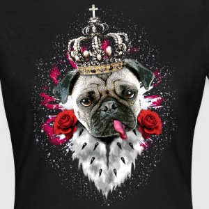 Mops The King Krone rote Rosen Hund Frauen Shirt - Frauen T-Shirt