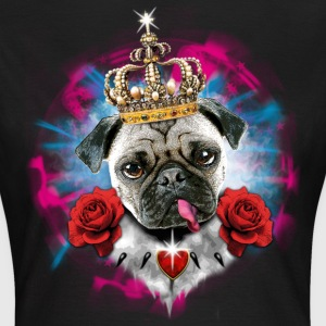 Mops - Pug the King  Roses + Stars + Glow T-Shirts - Frauen T-Shirt
