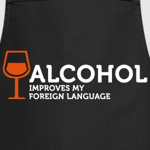 Alcohol improves my Foreign Language 3 (2c)  Aprons - Cooking Apron