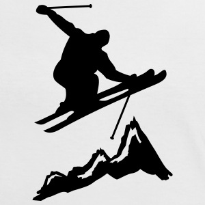 ski jump with mountains 2 T-shirts - Kontrast-T-shirt dam