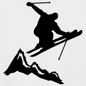 ski jump with mountains T-shirt - Maglia da baseball a manica corta da uomo