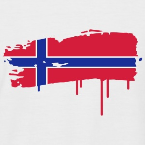 Norwegian flag painted with a brush stroke  T-Shirts - Men's Baseball T-Shirt