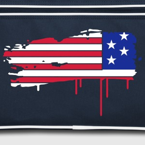 Flag of the United States painted with a brush stroke  Bags  - Retro Bag
