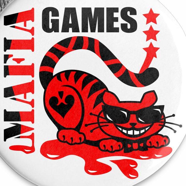 MAFIA GAMES / Grinsende Katze Neon rot / schwarz Anstecker Button