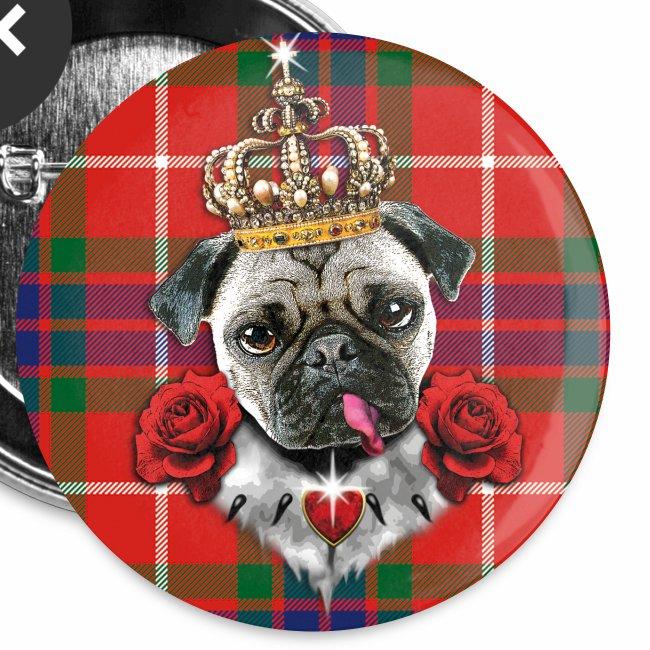 Mops - Pug The King - Krone - rote Rosen  Schottland  Muster Anstecker Button