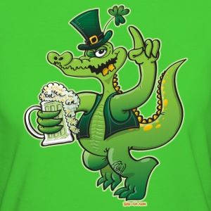 Saint Patrick's Day Crocodile Drinking Beer T-Shirts - Women's Organic T-shirt