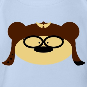 Teddy Bear goggles Baby Bodysuits - Organic Short-sleeved Baby Bodysuit