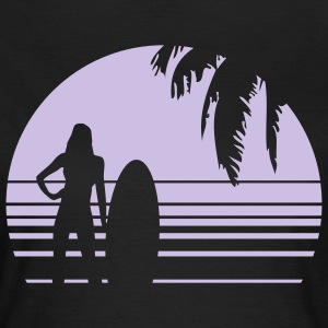 BEACH SURFING GIRL PALME 1C T-shirts - Dame-T-shirt
