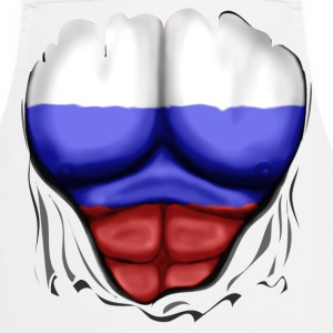 Russia Flag Ripped Muscles, six pack, chest apron - Cooking Apron