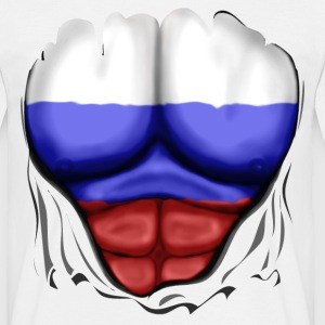 Russia Flag Ripped Muscles, six pack, chest t-shir - Men's T-Shirt