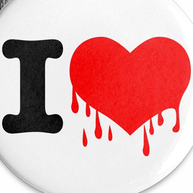 I LOVE YOU - Neon Rot + schwarz Anstecker Button