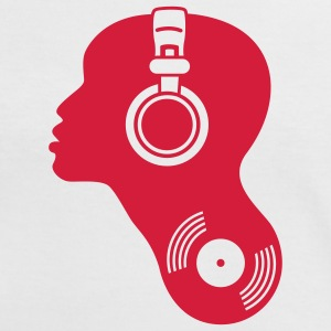 DJ djane disc jockey headphones record vinyl music techno dance head beat bass club electro elec T-Shirts - Women's Ringer T-Shirt