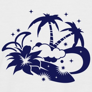 Surfboard with palm trees and amaryllis flower on the beach T-Shirts - Men's Baseball T-Shirt
