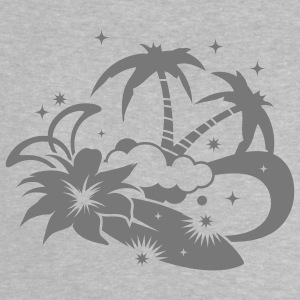 Surfboard with palm trees and amaryllis flower on the beach Baby Shirts  - Baby T-Shirt