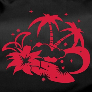 Surfboard with palm trees and amaryllis flower on the beach Bags  - Duffel Bag