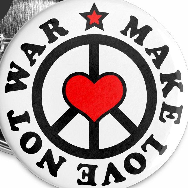 Make Love not War - Mach Liebe, nicht Krieg - Herz + Stern 2c Button Anstecker