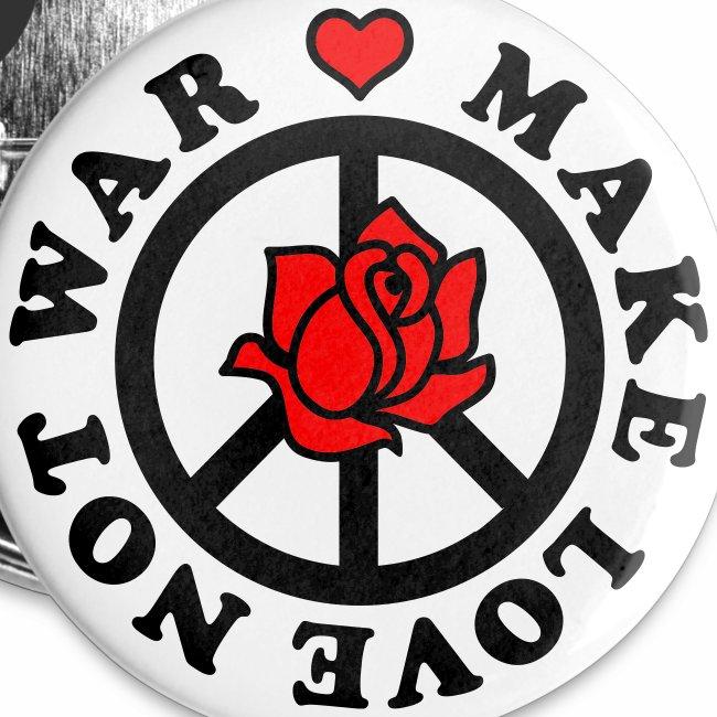 Make Love not War - Mach Liebe, nicht Krieg - Herz + Rose 2c Button Anstecker