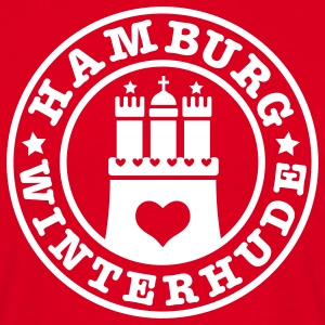 HAMBURG Winterhude - Hamburger Wappen Fan-Design HH Männer Shirt rot - Männer T-Shirt