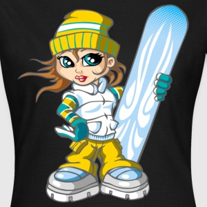 Snowboarding girl and snowboard - Vrouwen T-shirt