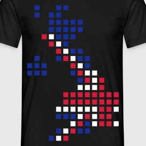 Svart UK - Great Britain flag pixel map T-skjorter - T-skjorte for menn