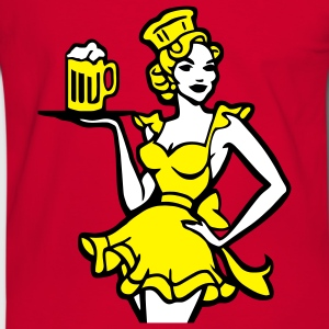 fesches Dirndel girl with beer one free beer. T-Shirts - Men's Ringer Shirt