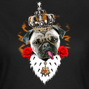 Mops - Pug The King - Krone + Orden - rote Rosen H - Frauen T-Shirt