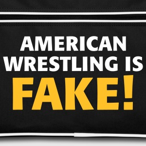 Black/white American Wrestling is fake ! Bags  - Retro Bag