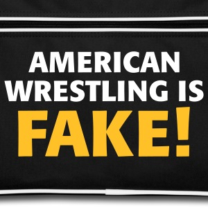 Noir/blanc American Wrestling is fake ! Sacs - Sac Retro