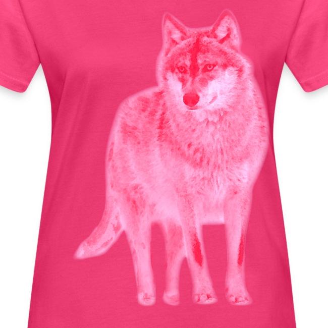 Bio Damen Girlie Shirt Wolf canis lupus Wulf pink tiershirt shirt tiermotiv