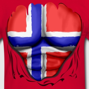 Norway Flag Ripped Muscles six pack chest t-shirt - Men's Ringer Shirt