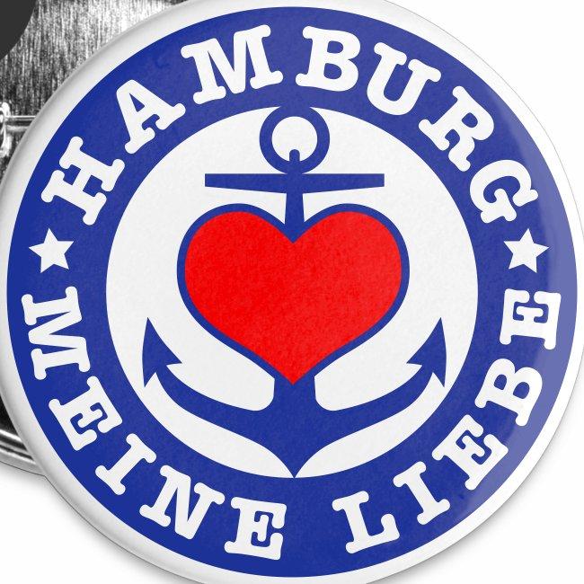 Herz auf Anker HAMBURG MEINE LIEBE 2c Button Anstecker
