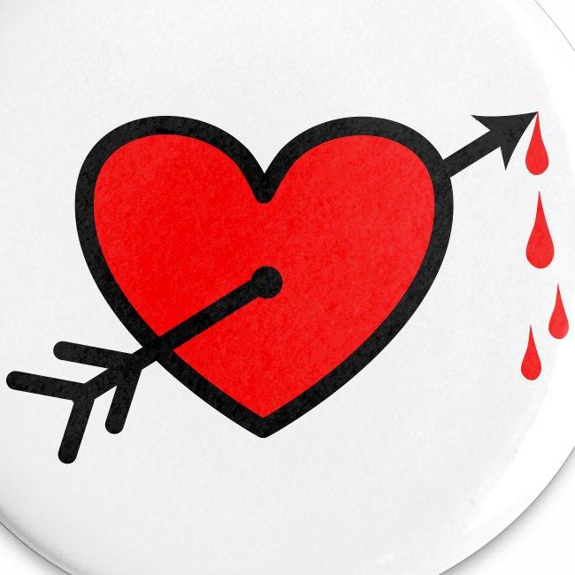 I LOVE - Pfeil durchs Herz - Neon Rot + schwarz Anstecker Button