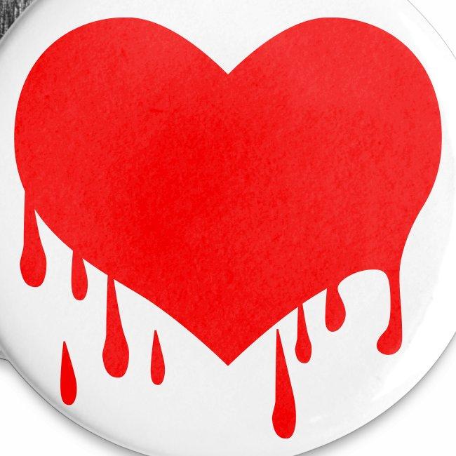 Liebe Love - Herzblut - Neon Rot + schwarz Anstecker Button