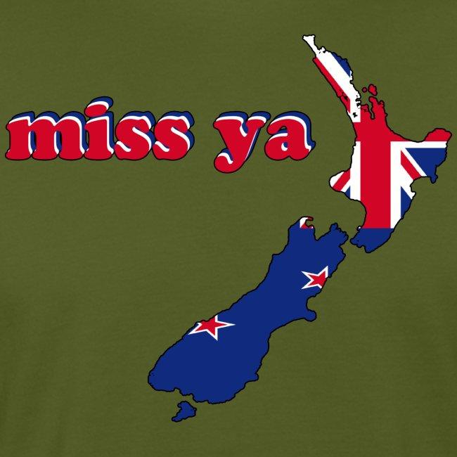New Zealand Map Flag Inside Miss Ya Earth Positive T-Shirt