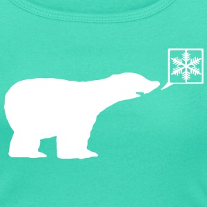 Polar Bear, calls for ice, snow flake global warming. T-Shirts - Women's Scoop Neck T-Shirt