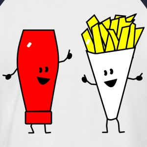 french fries ketchup T-shirts - T-shirt baseball manches courtes Homme