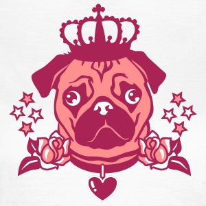 Mops Rosenherz - Pug The King - Krone - Rosen Hund - Frauen T-Shirt