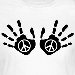 peace_handprints_1c T-shirts - Vrouwen T-shirt