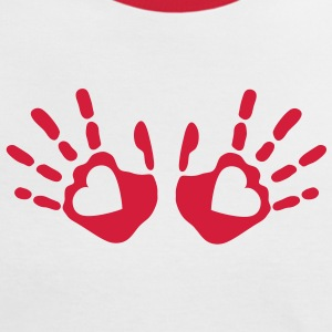 love_handprints_1c T-Shirts - Frauen Kontrast-T-Shirt
