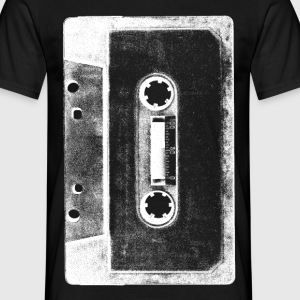 black and white tape cassette image tee shirt - Men's T-Shirt