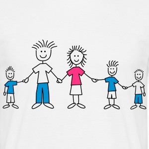 doodle_family_with_3_boys_3c T-shirts - Herre-T-shirt