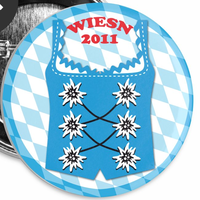"""Dirndl """"Wiesn 2011"""" Edelweiss Button Anstecker"""