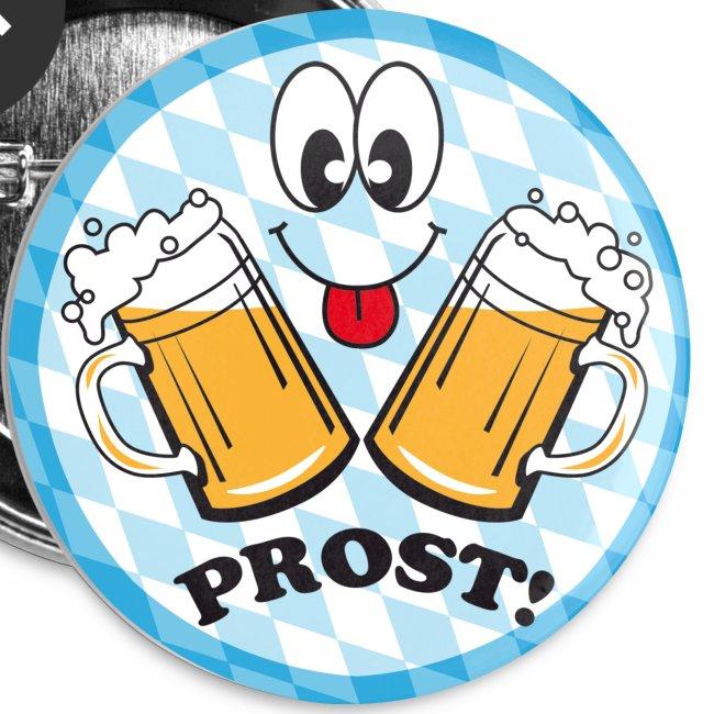 Prost! Witziger Anstecker Bier Smiley Button Anstecker