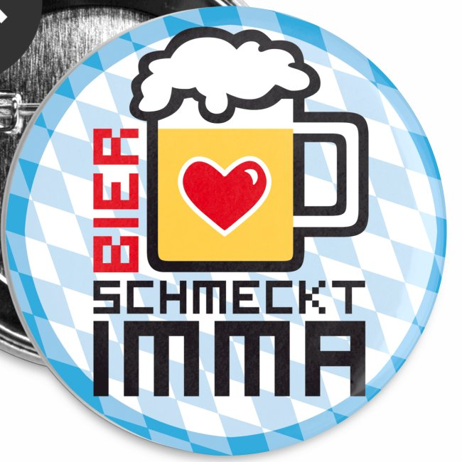 Bier schmeckt IMMA! Witziger Button Anstecker Mass Bier