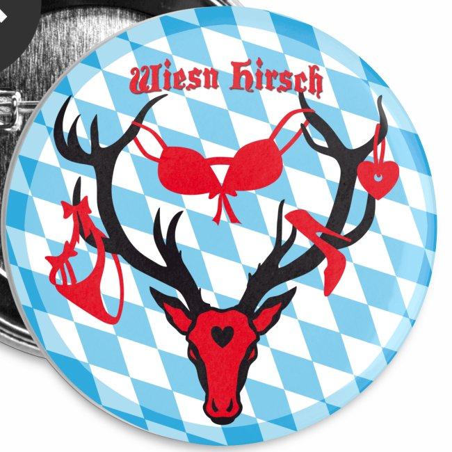 Wiesn Hirsch mit Beute / Brunftzeit Witziger Button Anstecker