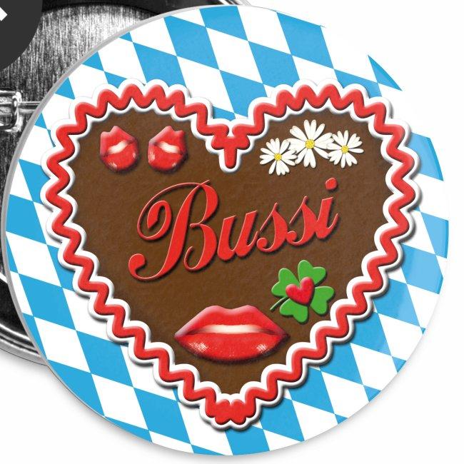Bussi – Lebkuchenherz Glücksklee + Kussmund Button Anstecker Geschenkidee