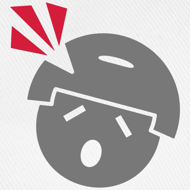 Headshot Maggot, weiße Baseballkappe, Aufdruck in Grau/Rot